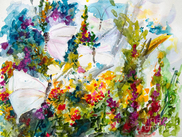 Painting - Wild Garden Butterflies Watercolor by Ginette Callaway