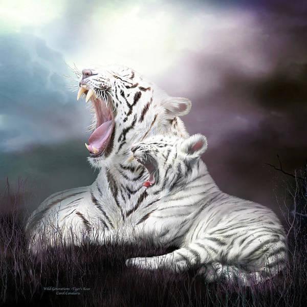Mixed Media - Wild Generations - Tiger's Roar by Carol Cavalaris