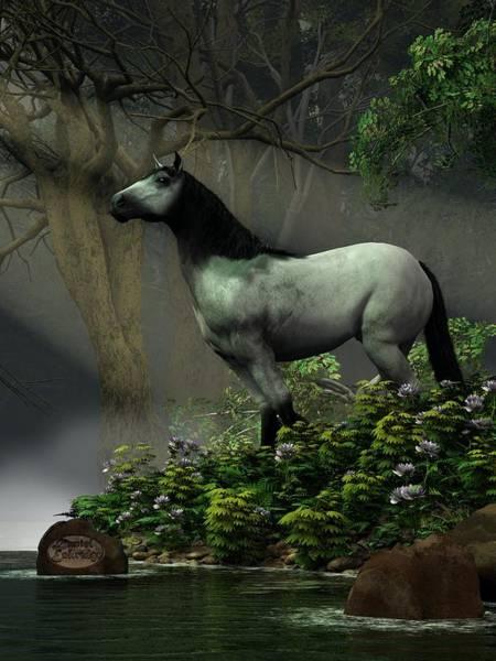 Digital Art - Wild Horse In The Forest by Daniel Eskridge
