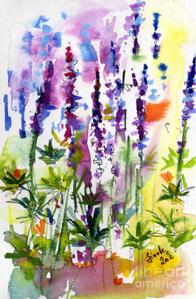 Painting - Wild Lupines Watercolor By Ginette by Ginette Callaway