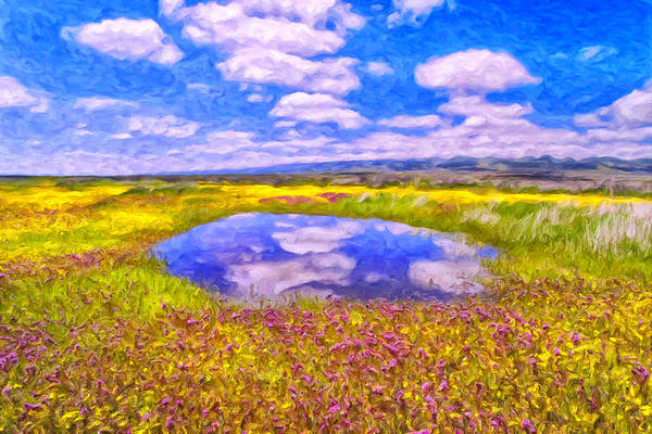 Painting - Wildflowers And Pond Near San Luis Obispo by Dominic Piperata