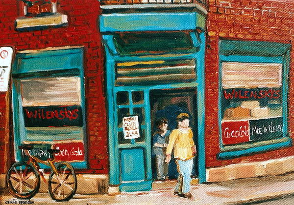 Painting - Wilenskys Lunch Counter  Fairmount Montreal Street Scene by Carole Spandau