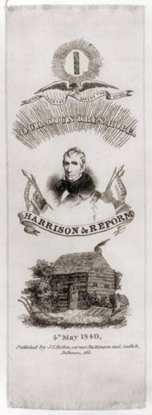 Whig Photograph - William Henry Harrison Campaign Ribbon by Everett