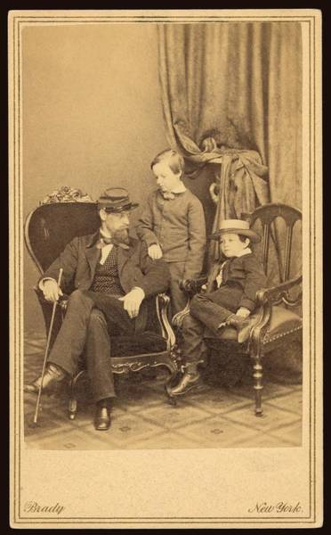 Mathew Photograph - Willie And Tad Lincoln With Cousin by Everett