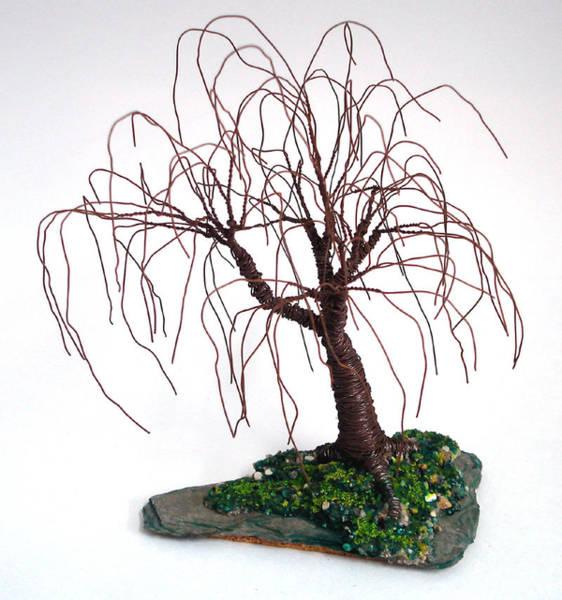 Jade Mixed Media - Willow On Slate - Wire Tree by Sal Villano