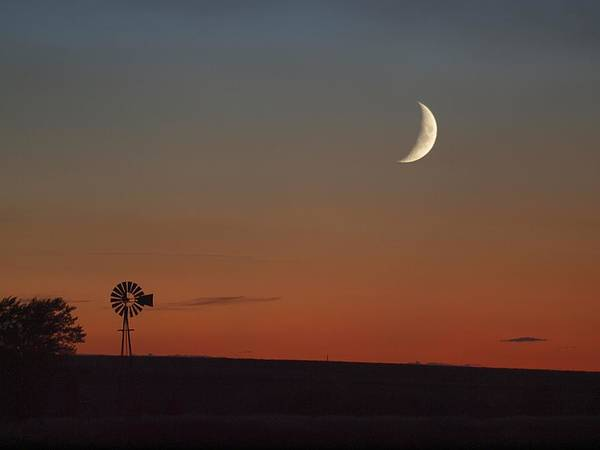 Photograph - Windmill And The Moon by HW Kateley