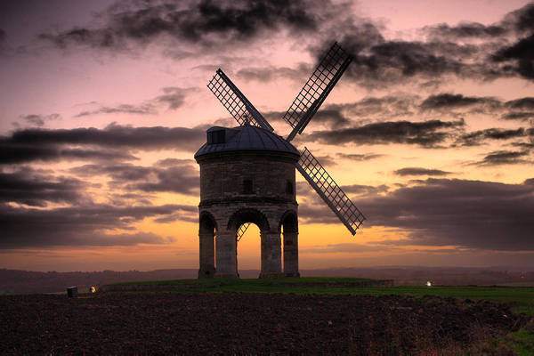 Horizontal Landscape Photograph - Windmill At Dusk by Christopher Gandy