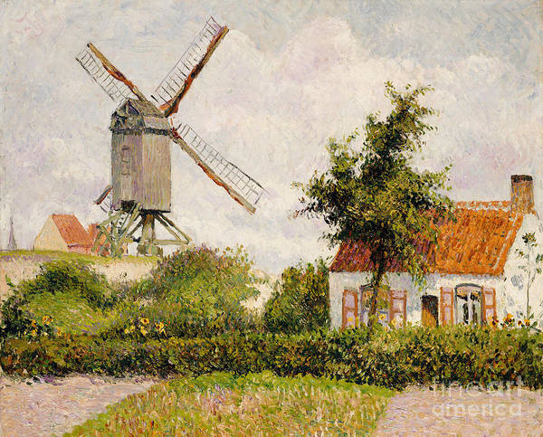 Wall Art - Painting - Windmill At Knokke by Camille Pissarro