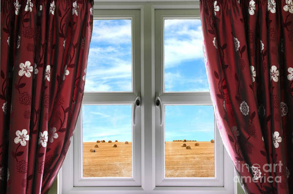 Window Dressing Wall Art - Photograph - Window And Curtains With View Of Crops  by Simon Bratt Photography LRPS