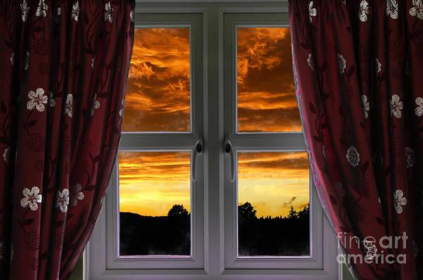 Window Dressing Wall Art - Photograph - Window With Fiery Sky by Simon Bratt Photography LRPS