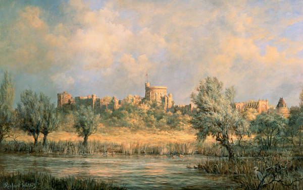 Windsor Wall Art - Painting - Windsor Castle - From The River Thames by Richard Willis