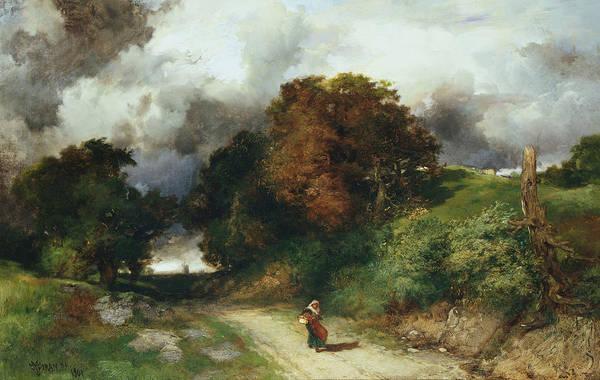 Moran Painting - Windy Hilltop by Thomas Moran