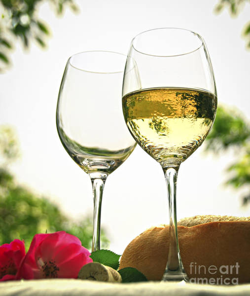Alfresco Wall Art - Photograph - Wine Glasses by Elena Elisseeva