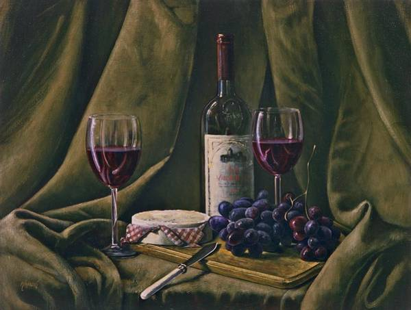 Painting - Wine With Grapes And Camembert by Brandon Kralik