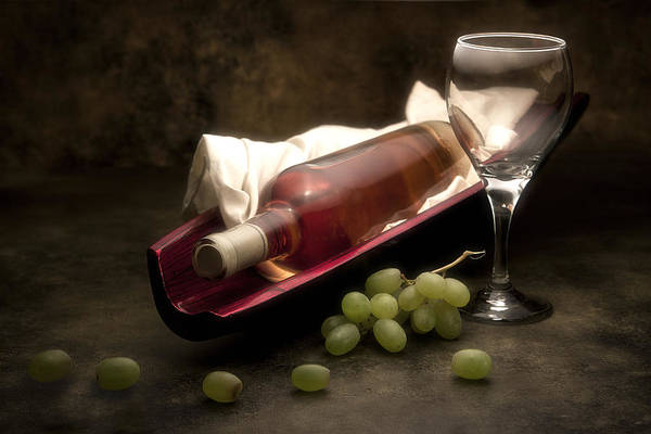 Bottles Photograph - Wine With Grapes And Glass Still Life by Tom Mc Nemar