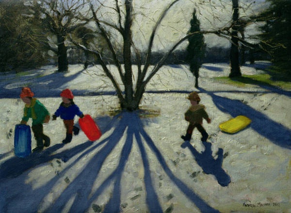 Sledge Wall Art - Painting - Winter by Andrew Macara