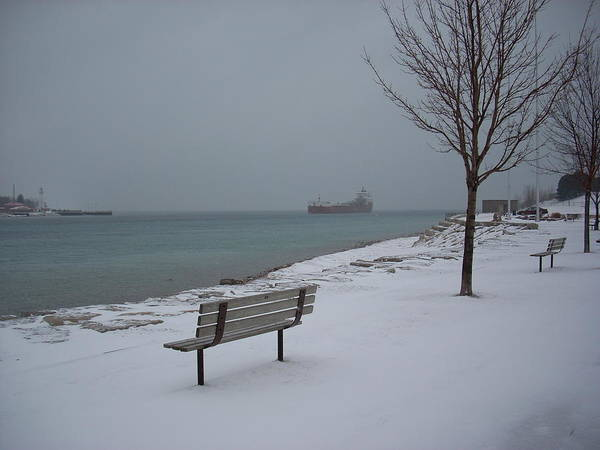 Mixed Media - Winter Benches And Freighter by Bruce Ritchie