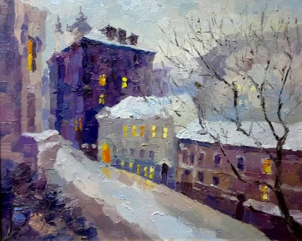 Follow Me Painting - Winter Evening.  Kiev by Anna Sokol