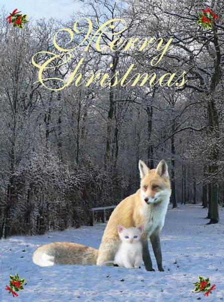 Mixed Media - Winter Fox Merry Christmas by Eric Kempson