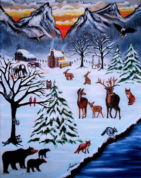 Barn Snow Painting - Winter Gathering by Adele Moscaritolo