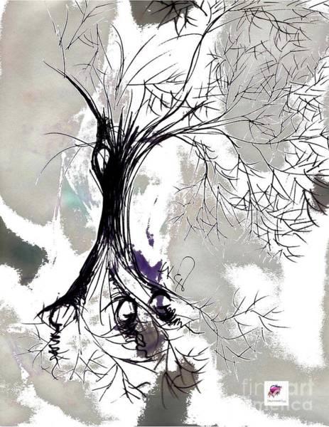 Wa Drawing - Winter Greenlake Tree by Carol Rashawnna Williams