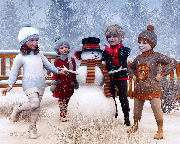 Digital Art - Winter Kids by Jutta Maria Pusl