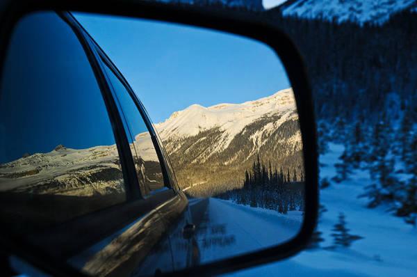 Winter Landscape Seen Through A Car Mirror Art Print