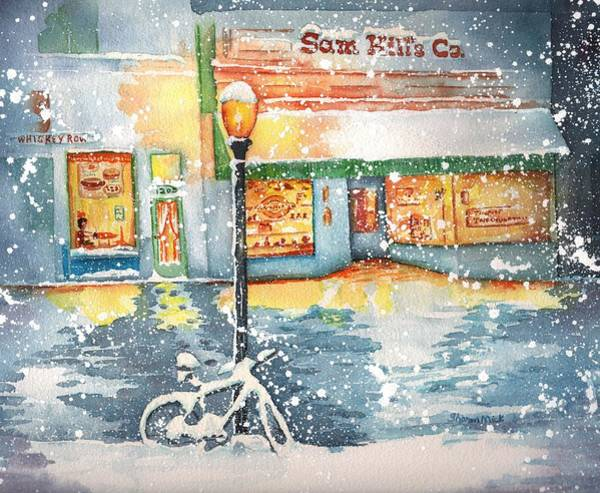 Whiskey Hill Wall Art - Painting - Winter On Whiskey Row Prescott Arizona by Sharon Mick