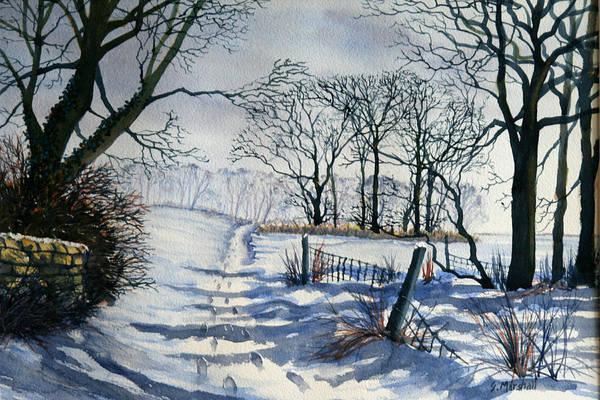 Painting - Winter Path To Dane's Dyke by Glenn Marshall