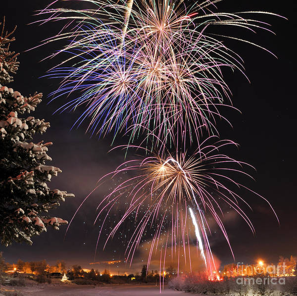 Fireworks Show Wall Art - Photograph - Winter Solstice Fireworks by Gary Whitton