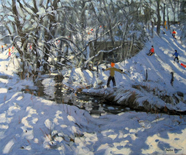Sledge Wall Art - Painting - Winter Stream by Andrew Macara