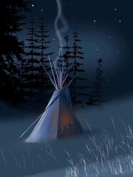 Wall Art - Painting - Winter Teepee by Paul Sachtleben