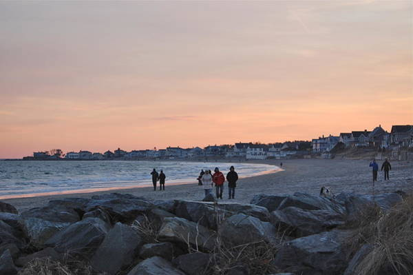 Photograph - Winter Walk On The Beach by Mary McAvoy