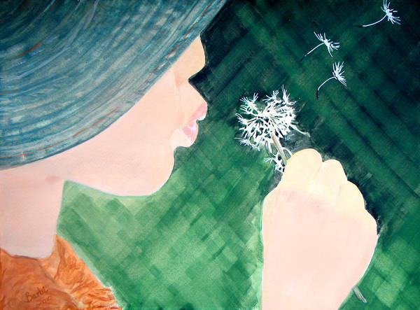 Dandilions Painting - Wishes Can Come True by Barbi Holzmann