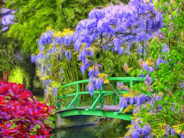 Painting - Wisteria And Japanese Bridge by Dominic Piperata