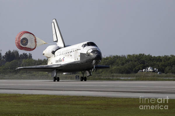 Photograph - With Drag Chute Unfurled, Space Shuttle by Stocktrek Images