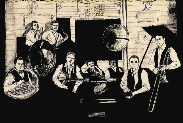 Vintage Chicago Drawing - Wolverines Recording Session by Mel Thompson
