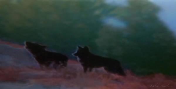 Wolves Passage Art Print by Debra     Vatalaro