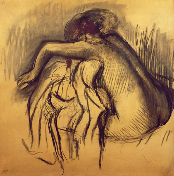 Life After Life Wall Art - Drawing - Woman Drying by Edgar Degas