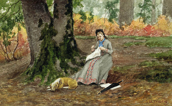 Embroidery Painting - Woman Embroidering Under A Tree  by John M Tracy
