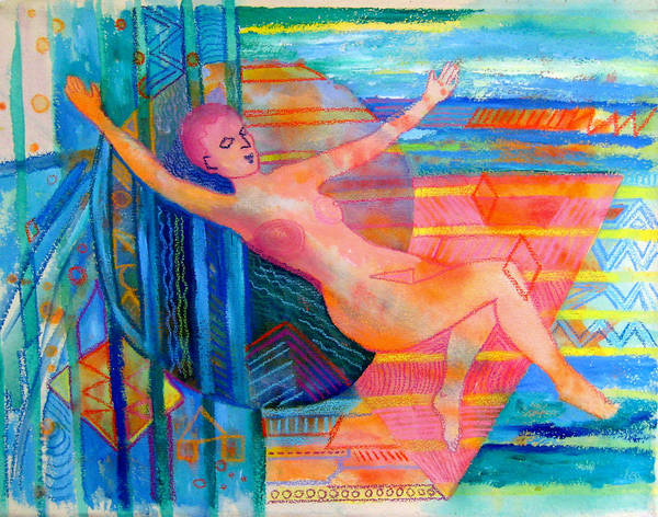 Painting - Woman Floating In Space by Nancy Wait