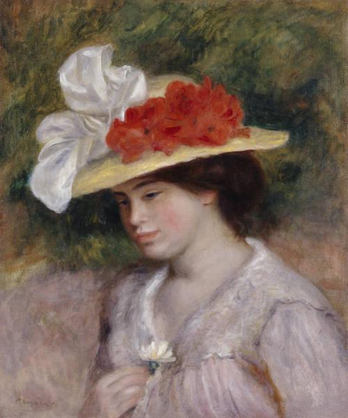 Bonnet Painting - Woman In A Flowered Hat by Pierre Auguste Renoir