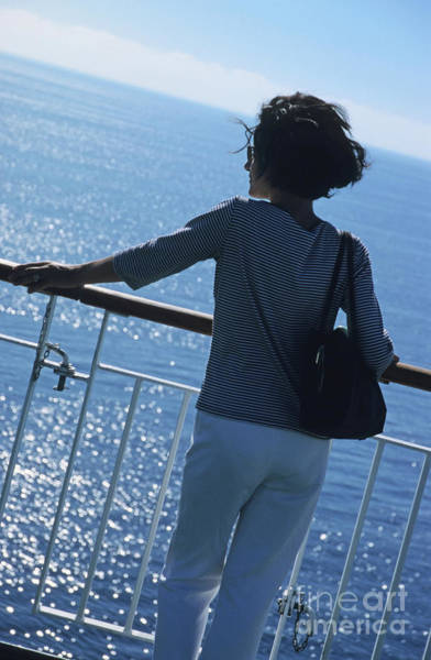 Wall Art - Photograph - Woman Looking Out To Sea From Deck Of Boat by Sami Sarkis