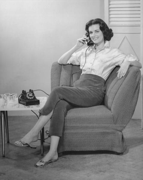 Armchair Photograph - Woman Sitting On Armchair, Talking On Phone, (b&w), by George Marks