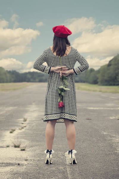 Hand Pump Photograph - Woman With Red Rose by Joana Kruse