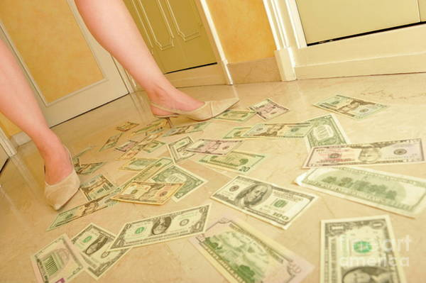 Down The Drain Wall Art - Photograph - Woman's Legs Walking On Us Dollars Banknotes On Floor by Sami Sarkis