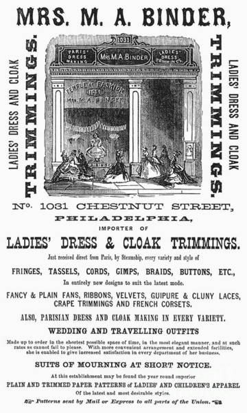 Photograph - Womens Fashion Ad, 1866 by Granger