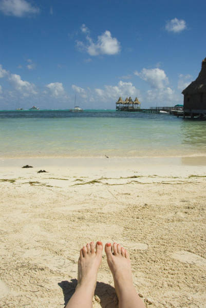 Ambergris Caye Photograph - Womens Feet On The Beach With A View by James Forte