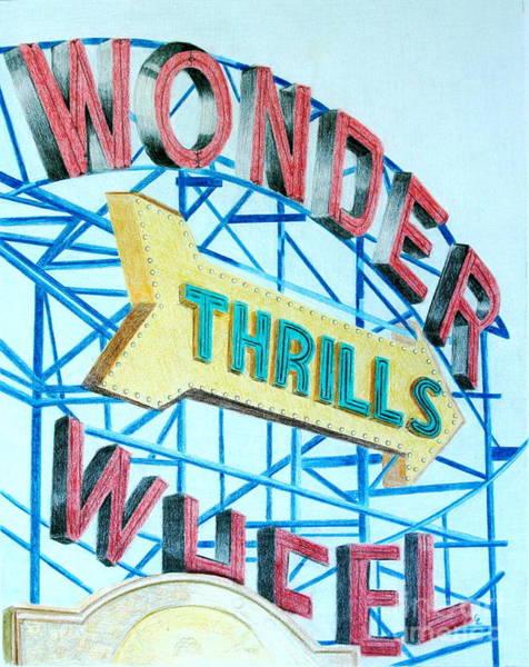 Teal Drawing - Wonder Wheel by Glenda Zuckerman
