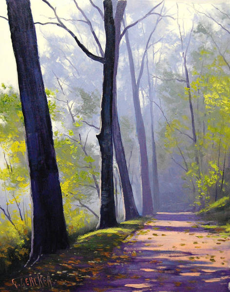 Misty Wall Art - Painting - Wooded Trail by Graham Gercken